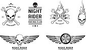 Racing skull emblems vector set
