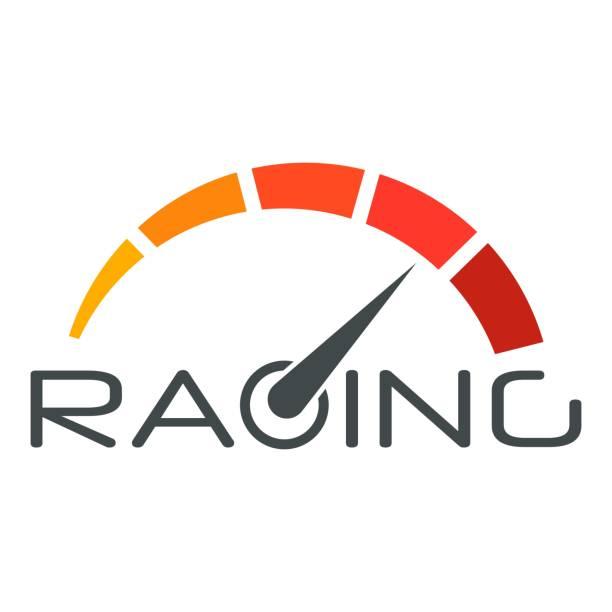 Racing speedometer logo, flat style vector art illustration