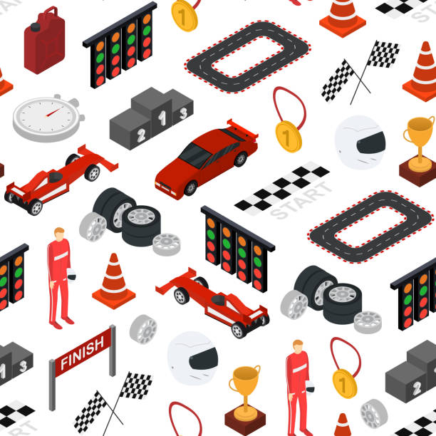 racing sport seamless pattern background isometric view. vector - formula 1 stock illustrations