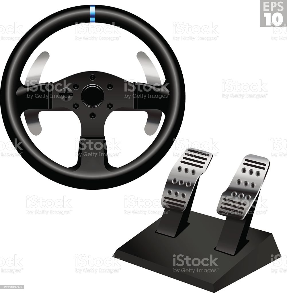 Racing Steering Wheel With Metal Paddle Shifters And Pedal Set vector art illustration