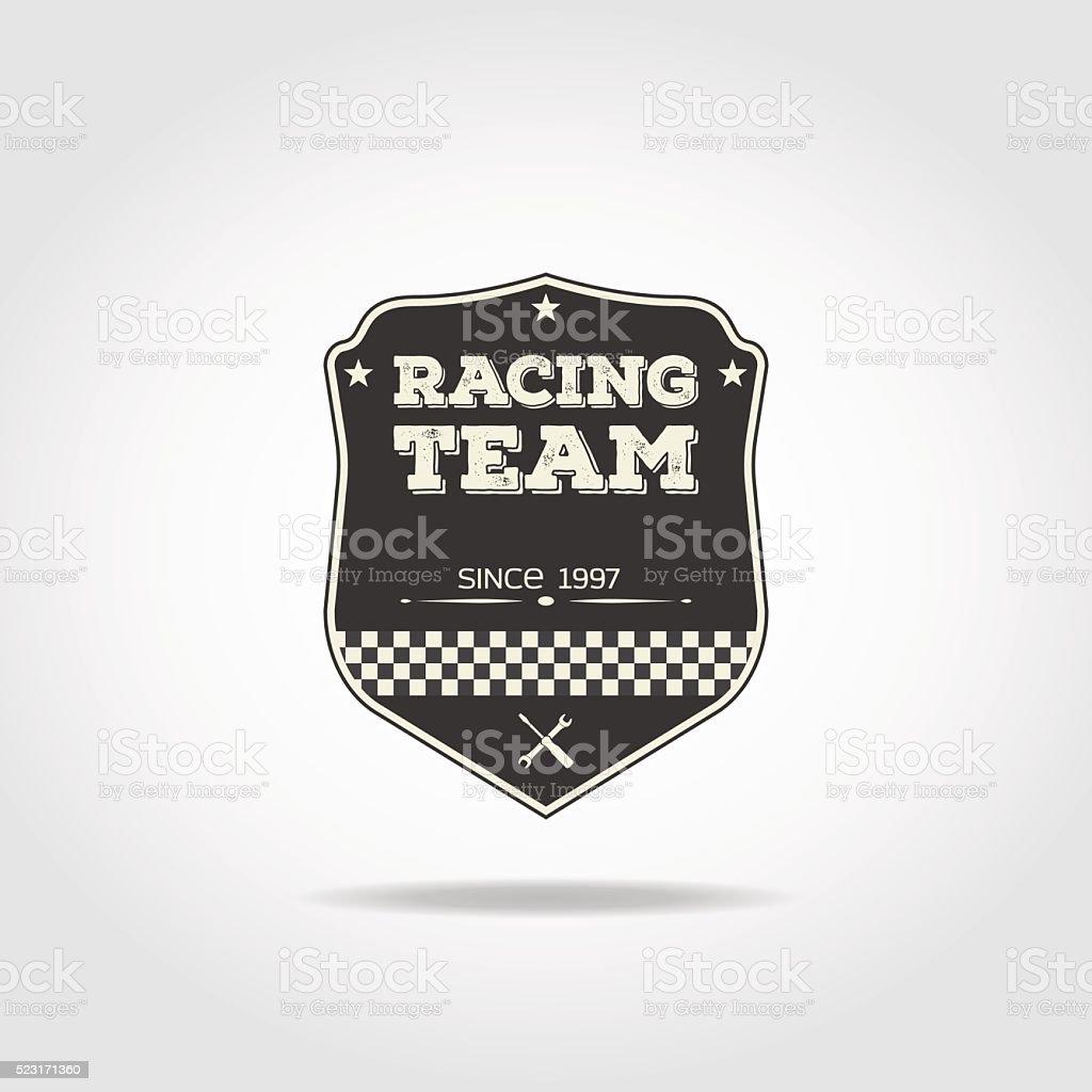 Racing team badge vector art illustration