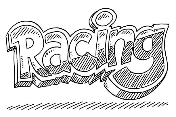 Racing Text Drawing Hand-drawn vector drawing of a Racing Text Label. Black-and-White sketch on a transparent background (.eps-file). Included files are EPS (v10) and Hi-Res JPG. motor sport stock illustrations