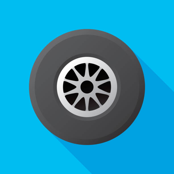 Racing Tire Flat Vector illustration of a car tire with hubcap against a blue background in flat style. tires stock illustrations