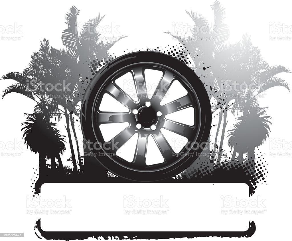 racing Reifen mit Palmen Hintergrund und banner – Vektorgrafik