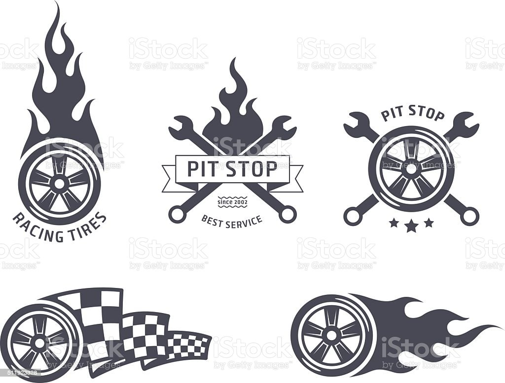Racing tires and service vector emblems vector art illustration