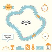 Racing Track and Cars Infographic Template. Competition and  Planning Concept. Vector illustration