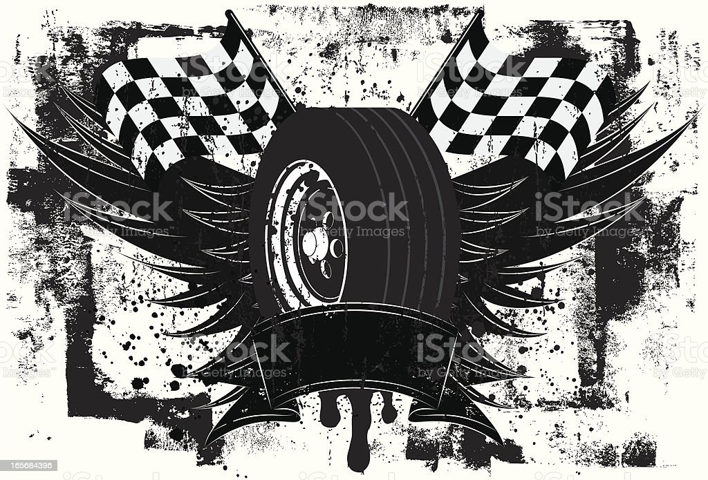 racing wings insignia vector art illustration