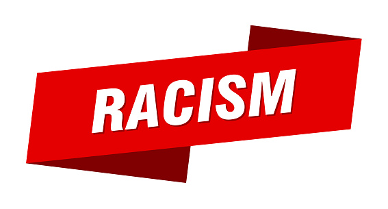 racism banner template. ribbon label sign. sticker