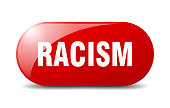 racism button. sticker. banner. rounded glass sign