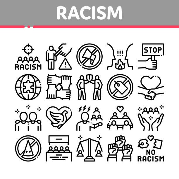 Racism Discrimination Collection Icons Set Vector vector art illustration