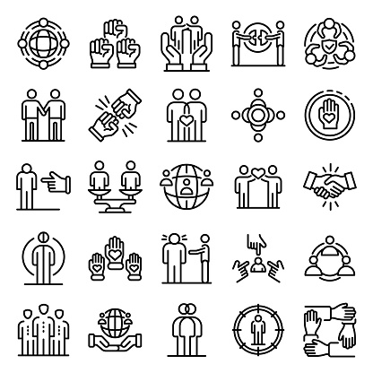 Racism icons set, outline style