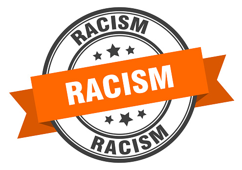 racism label sign. round stamp. band. ribbon