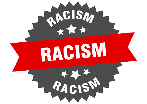 racism round isolated ribbon label. racism sign