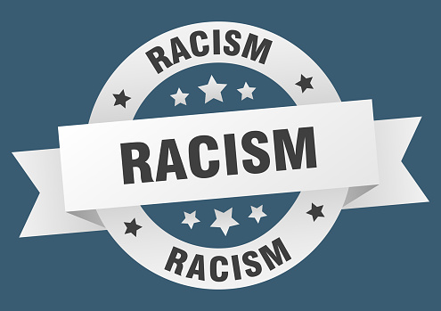 racism round ribbon isolated label. racism sign