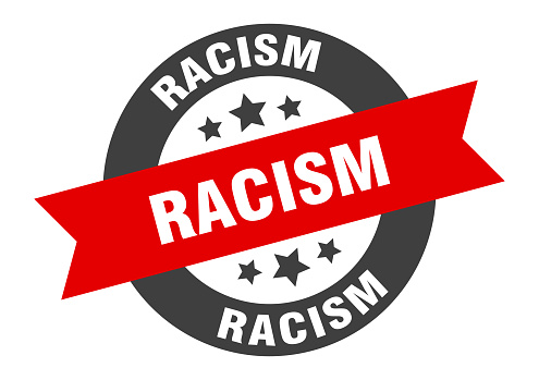 racism sign. round ribbon sticker. isolated tag