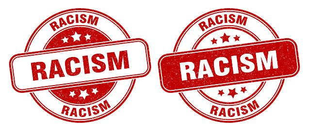 racism stamp. racism label. round grunge sign