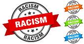 racism stamp. round band sign set. label