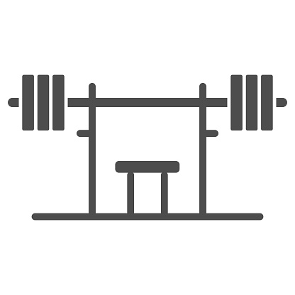 Rack with a barbell solid icon, Gym concept, barbell on rack sign on white background, Dumbbell stand icon in glyph style for mobile concept and web design. Vector graphics.