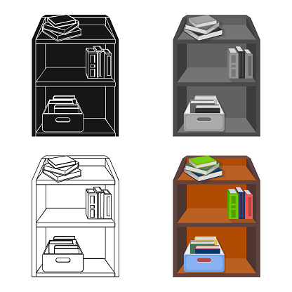 A rack with books and documents. Office furniture single icon in cartoon style Isometric vector symbol stock illustration web.