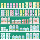 rack with dairy products in the store. milk and cream, yogurt, and ice cream. vector illustration. supermarket.