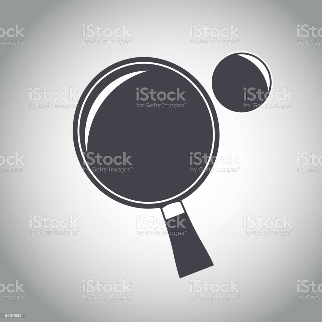 racket and ball ping pong black and white vector art illustration