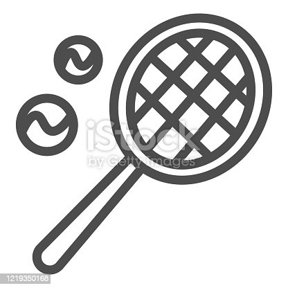 istock Racket and balls line icon. Tennis symbol illustration isolated on white. Tennis racket with two ball outline style design, designed for web and app. Eps 10. 1219350168