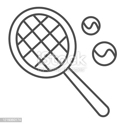 istock Racket and balls thin line icon. Tennis symbol illustration isolated on white. Tennis racket with two ball outline style design, designed for web and app. Eps 10. 1219350174