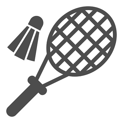 Racket and shuttlecock solid icon, summer sport concept, Badminton sign on white background, Badminton racket and volant icon in glyph style for mobile concept, web design. Vector graphics.