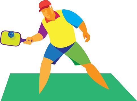 Racket sport.Old man