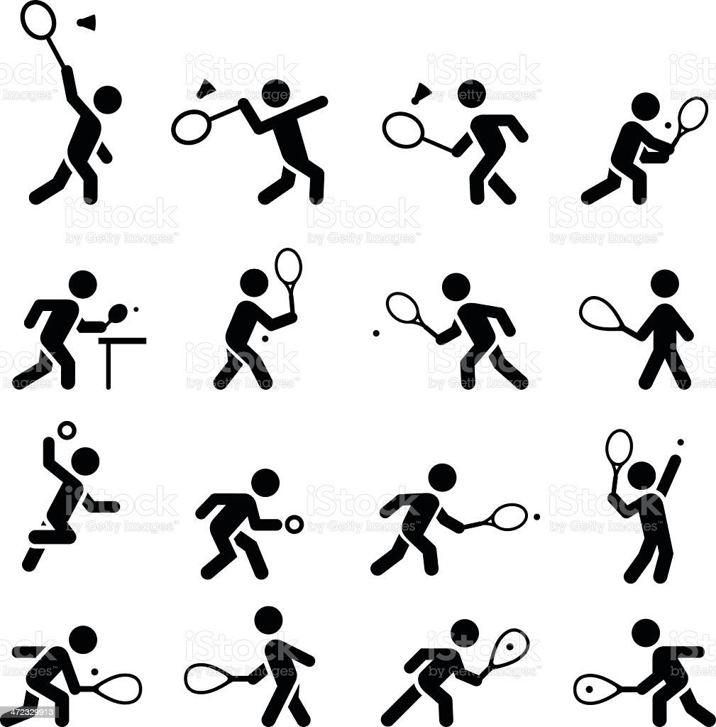 Racket Sports Icons - Black Series vector art illustration