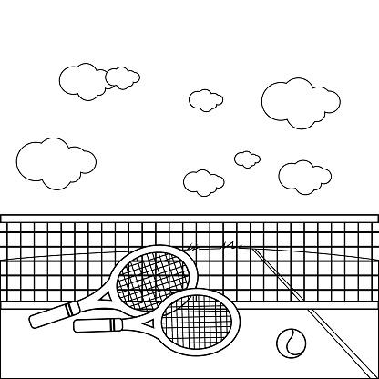 Tenis Kortunda Raketler Ve Tenis Topu Vektor Siyah Beyaz Boyama