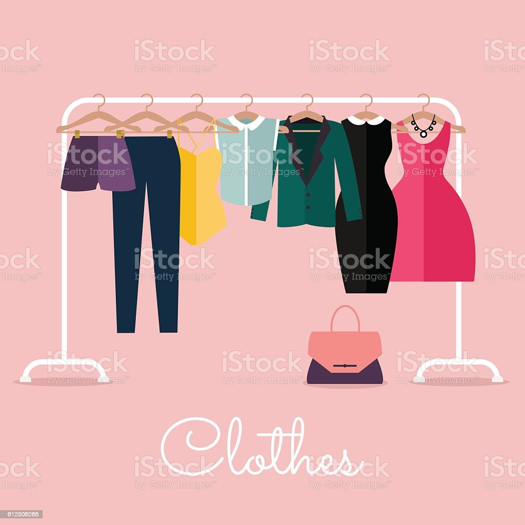 Racks with clothes on hangers. Flat design style modern – Vektorgrafik