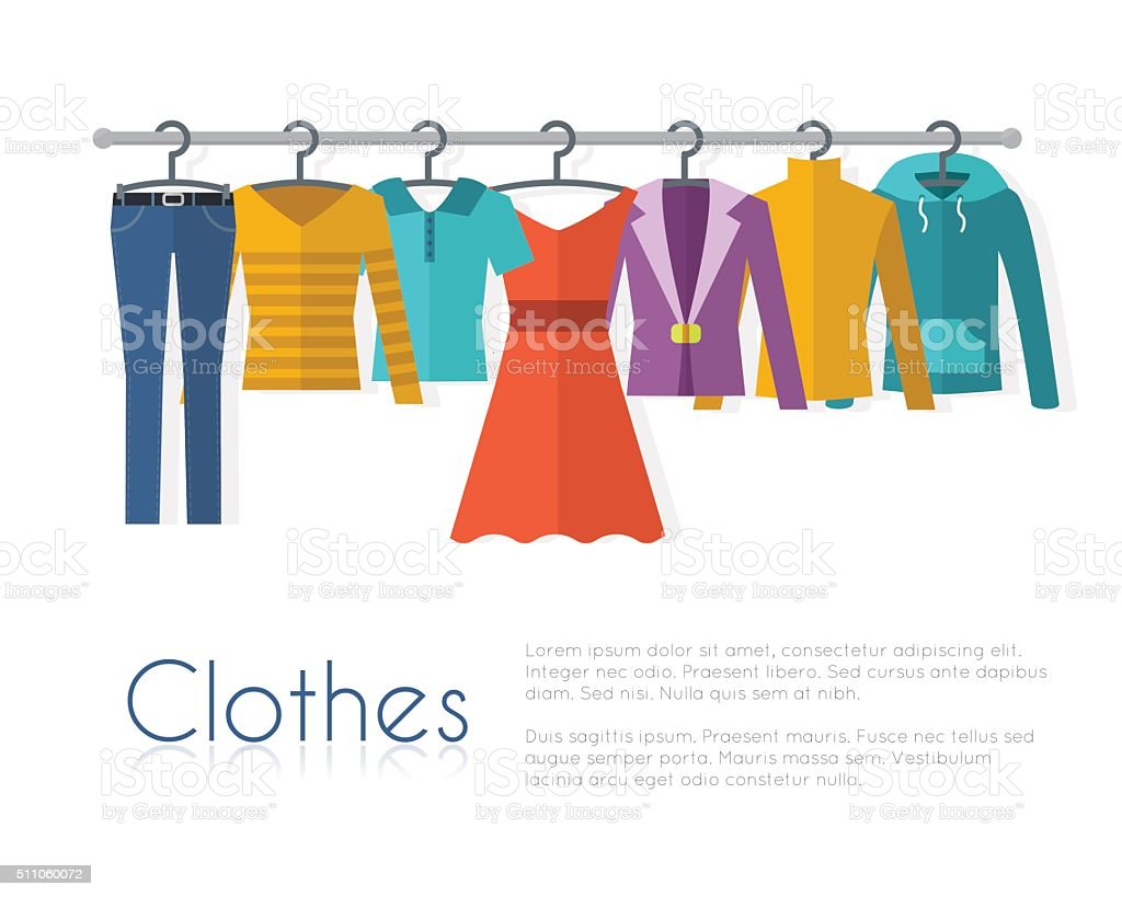 Racks with clothes on hangers. royalty-free stock vector art