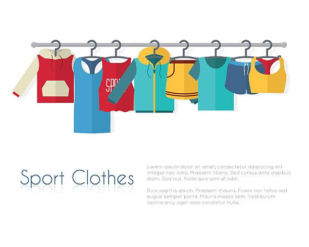 stockillustraties, clipart, cartoons en iconen met racks with sport clothes on hangers - sportkleding