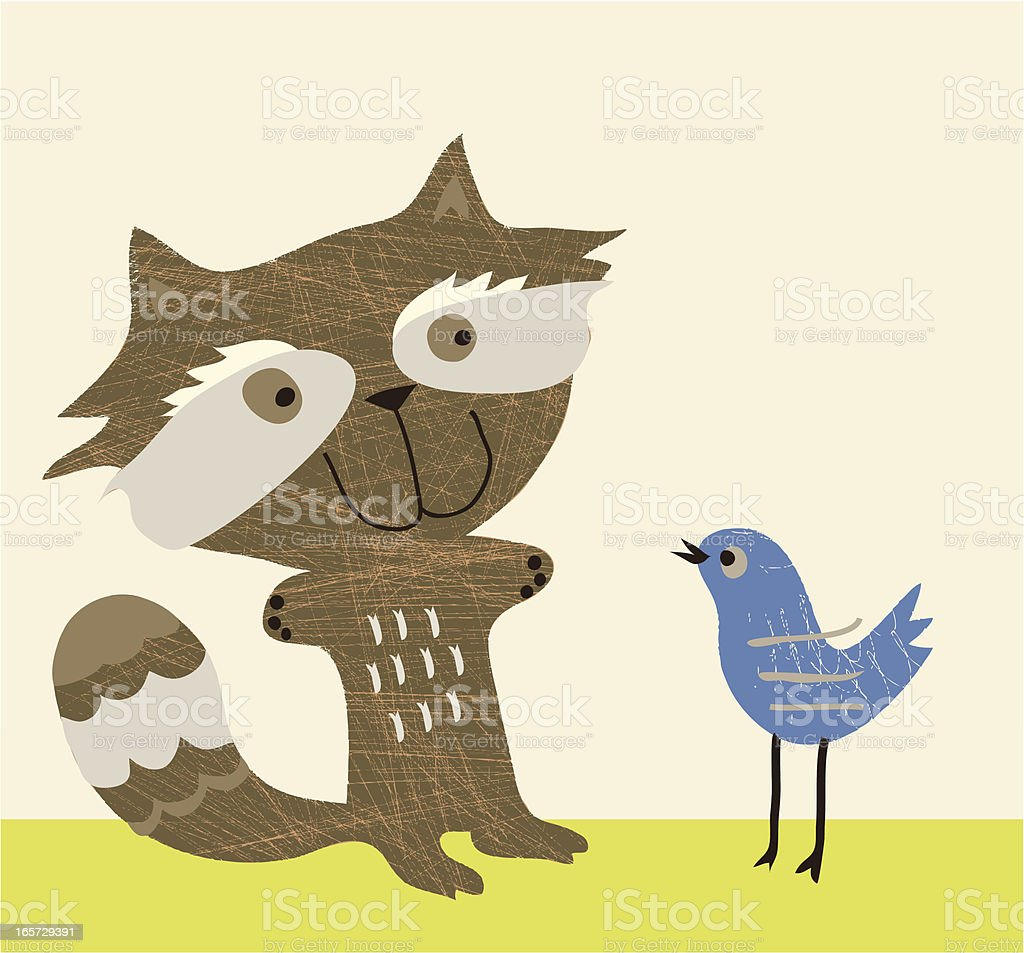 Racoon and bluebird chat vector art illustration