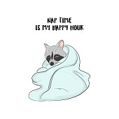 Racoon nap illustration. cute animal doodle sketch. Hand-drawn pet in bed, relaxing on weekend.