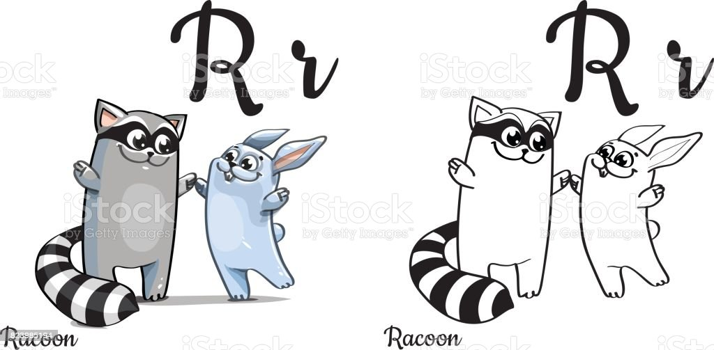 Ilustración de Racoon Letra Del Alfabeto Vector R Página Para ...