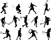 Tennis, racquetball, and badminton silhouettes.  This file is layered and grouped, ready for editing.