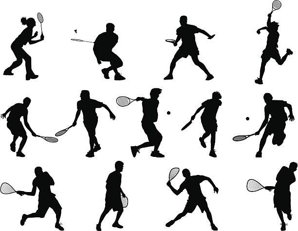Desportos com raquete - ilustração de arte vetorial