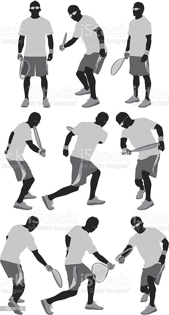 Racquetball player in action vector art illustration