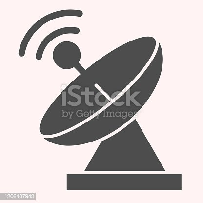 Radar glyph icon. Satellite antenna with strong signal. Astronomy vector design concept, solid style pictogram on white background, use for web and app. Eps 10