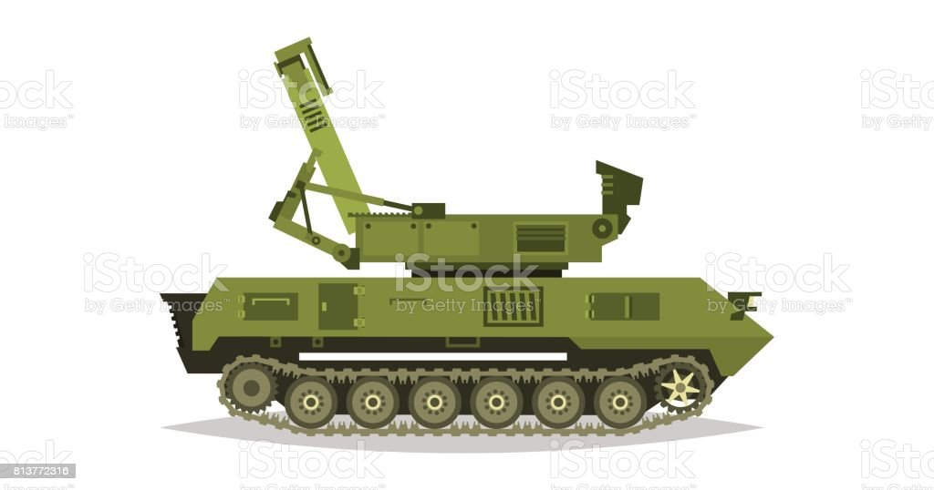 Radar guns. The broadcast, satellite communications. Antennas, receivers, communication with headquarters. Determining enemy locations. Special military equipment. All Terrain Vehicle, heavy vehicles. vector art illustration