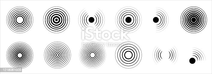 Radar icons set. Collection sonar sound waves. Radar icon. Sonar wave sign. Big set on the white background - stock vector.