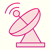 istock Radar line icon. Satellite antenna with strong signal. Astronomy vector design concept, outline style pictogram on white background, use for web and app. Eps 10. 1208524704