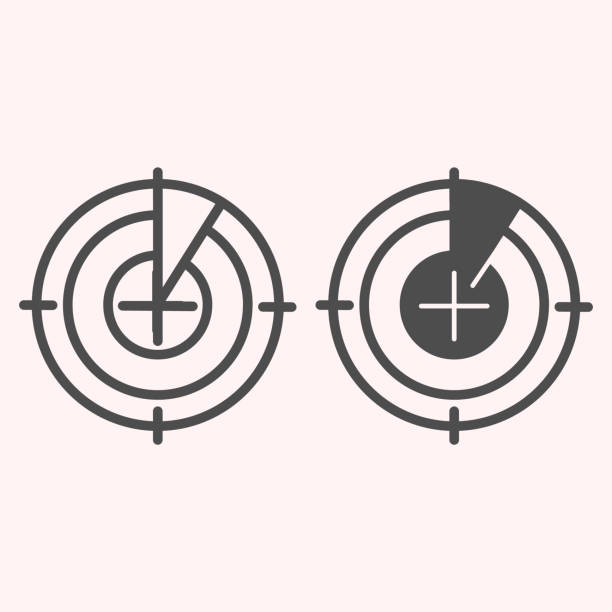Radar monitor line and glyph icon. Search and detect purpose sonar. Astronomy vector design concept, outline style pictogram on white background, use for web and app. Eps 10. Radar monitor line and glyph icon. Search and detect purpose sonar. Astronomy vector design concept, outline style pictogram on white background, use for web and app. Eps 10 image stock illustrations