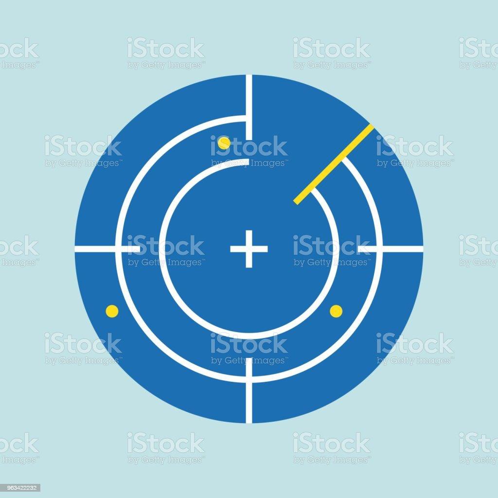 Icône de navigation radar, vector design plat - clipart vectoriel de Carré - Composition libre de droits