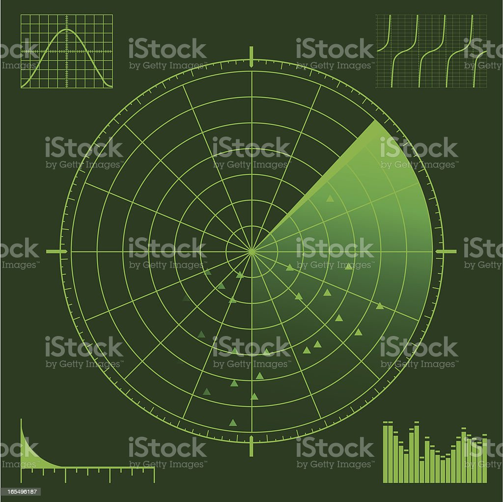 Radar or Sonar Scope vector art illustration