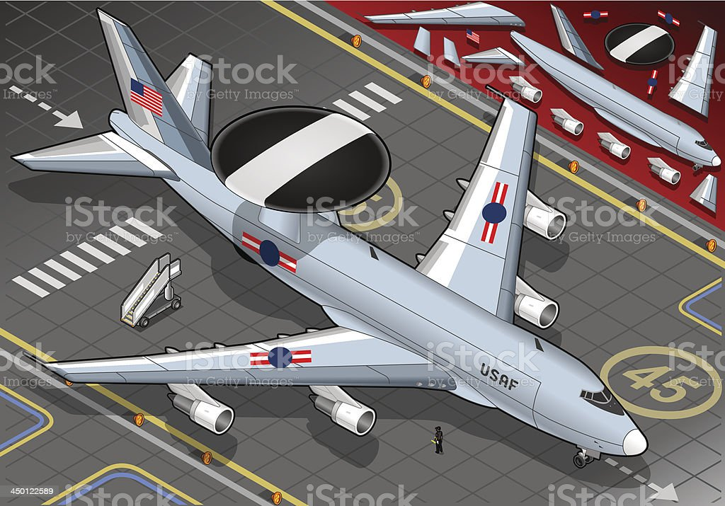 Radar Plane Landed in Front View royalty-free stock vector art