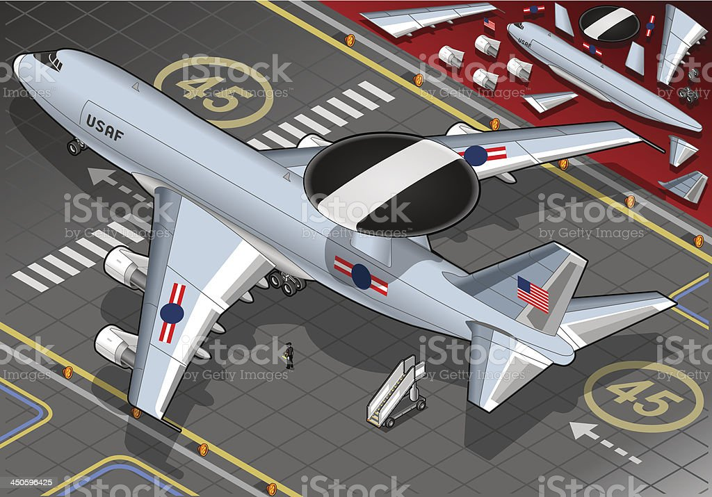 Radar Plane Landed in Rear View royalty-free stock vector art