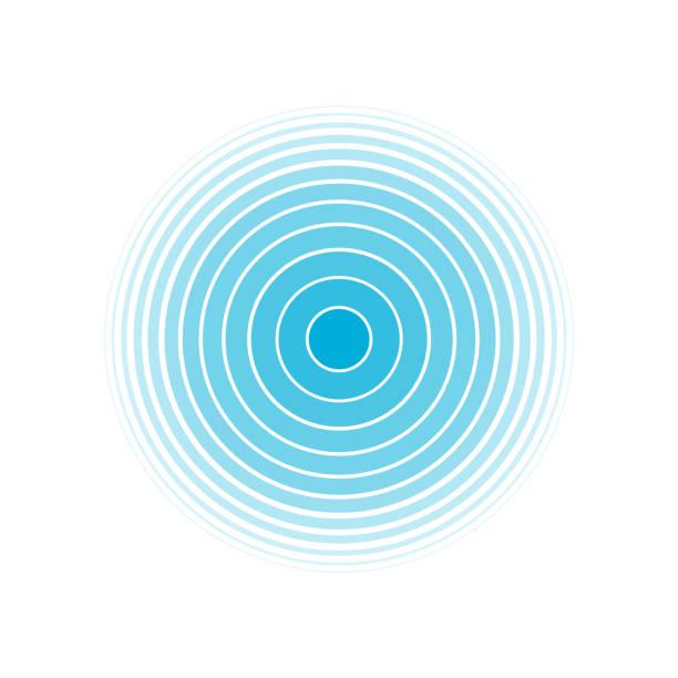 ilustrações, clipart, desenhos animados e ícones de círculo concêntrico da tela do radar. círculo. onda sonora. anel azul. sinal da estação de rádio. - texturas de riscos